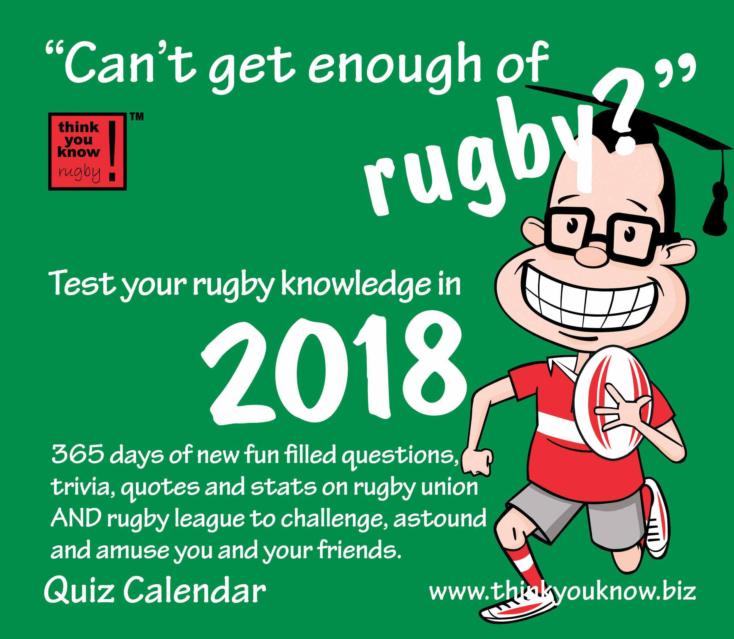 Can t Get Enough of Rugby Desk Calendar 2018