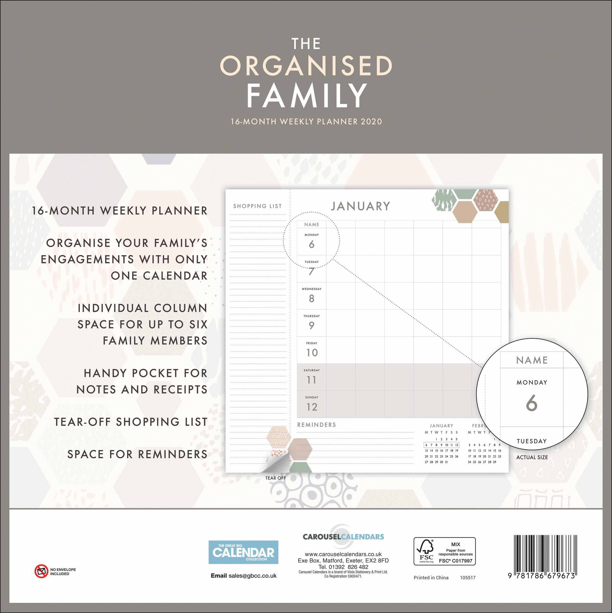 graphic about Weekly Family Planner known as The Organised Household Planner 2020