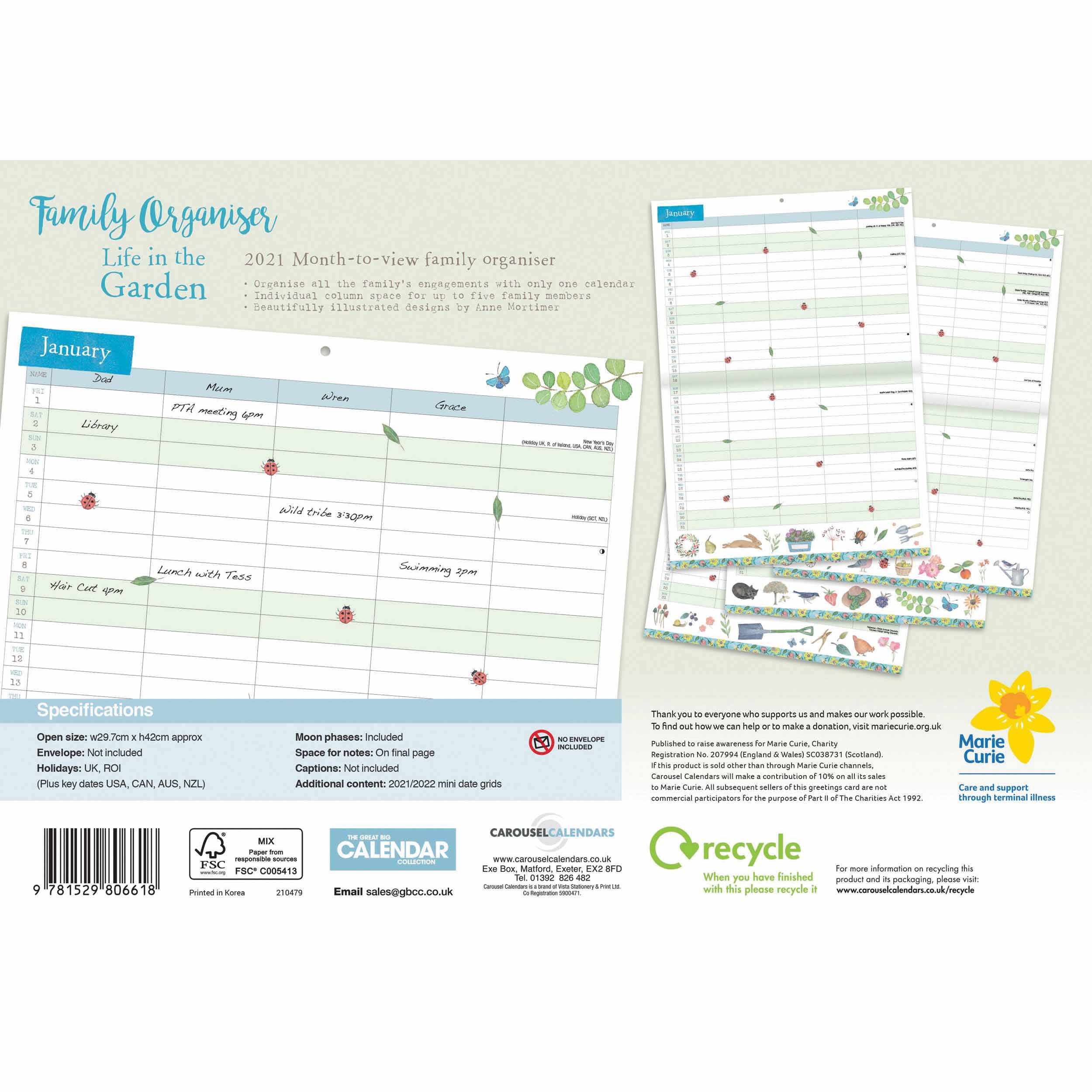 Life In The Garden A4 Family Planner 2021 at Calendar Club
