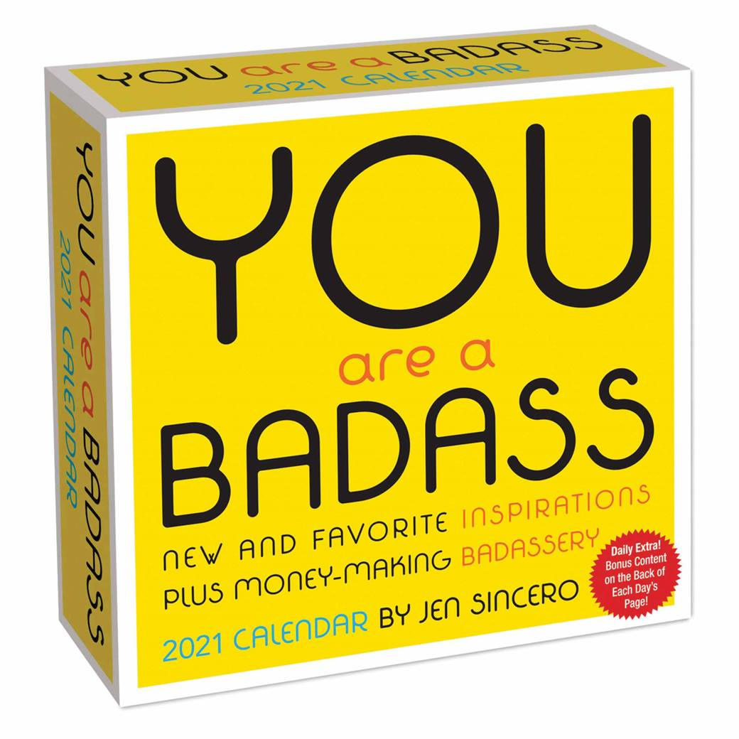 Image of the front of the You Are A Badass motivational calendar packaging