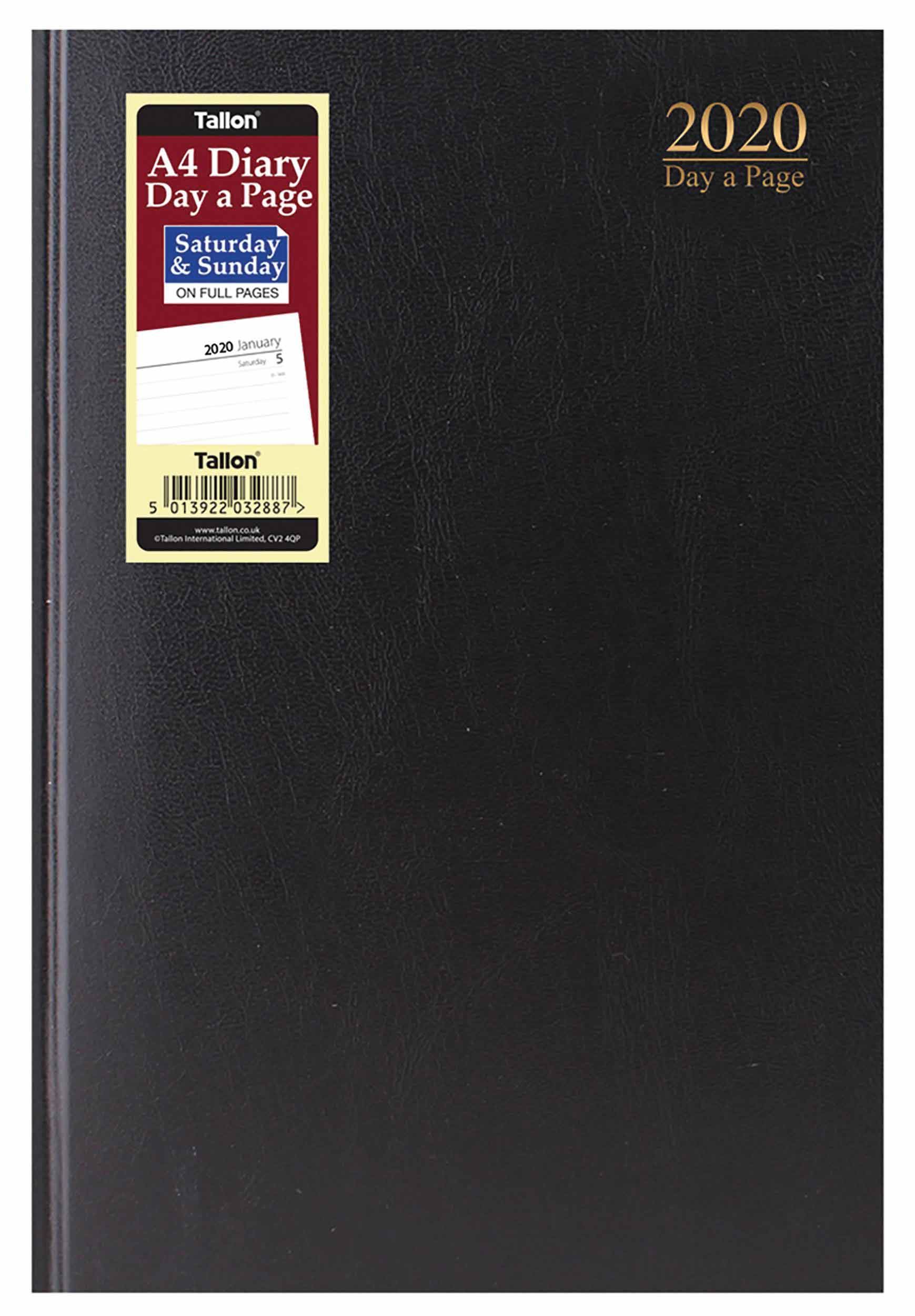 Black Hardback Page-A-Day A4 Diary With Full Weekend 2020
