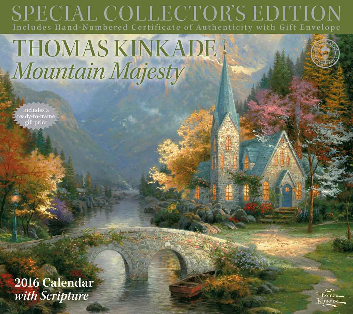Kinkade Mountain Majesty Collector's Edition Scripture Deluxe Calendar 2016